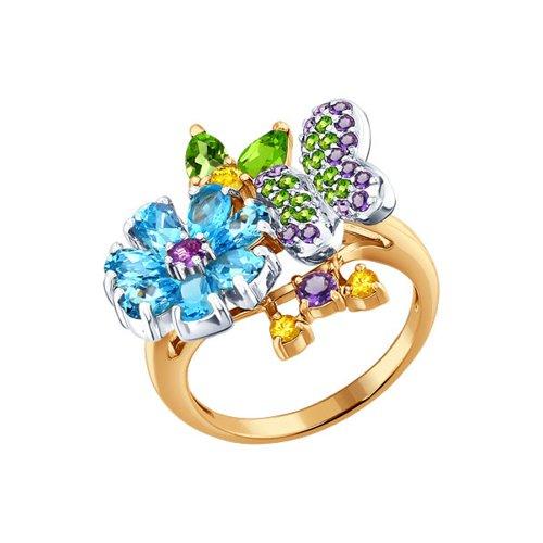 Кольцо с композицией SOKOLOV из полудрагоценных камней