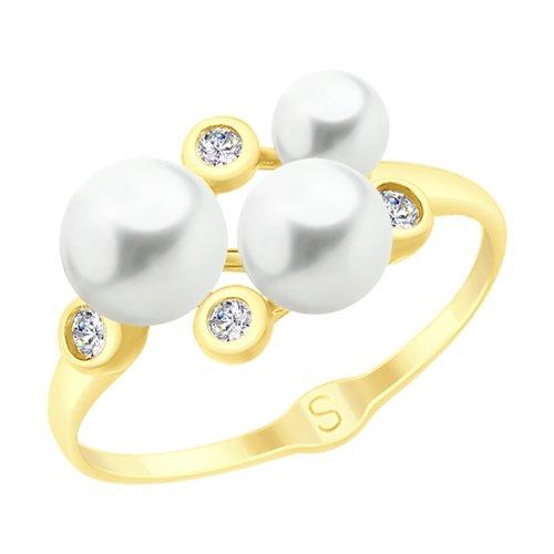 Кольцо из желтого золота с жемчугом и фианитами (791070-2) - фото