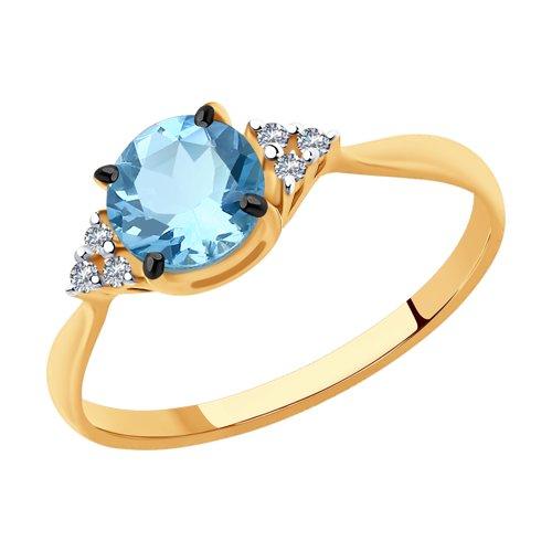 Кольцо из золота с бриллиантами и аквамариновым 6014128 SOKOLOV фото