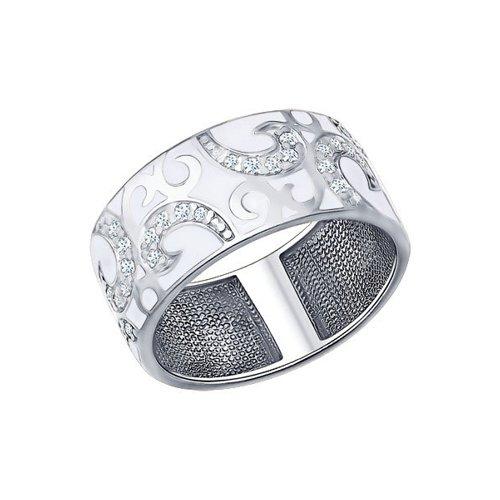 Кольцо из серебра с эмалью с фианитами