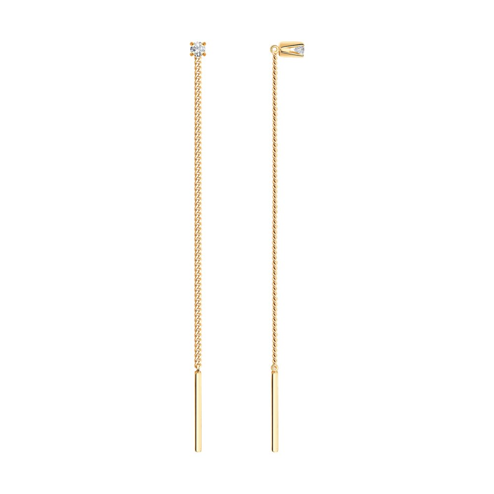 Серьги-цепочки SOKOLOV из золота с фианитами