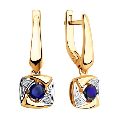 Серьги из золота с бриллиантами и синими корундами (6022144) - фото №2