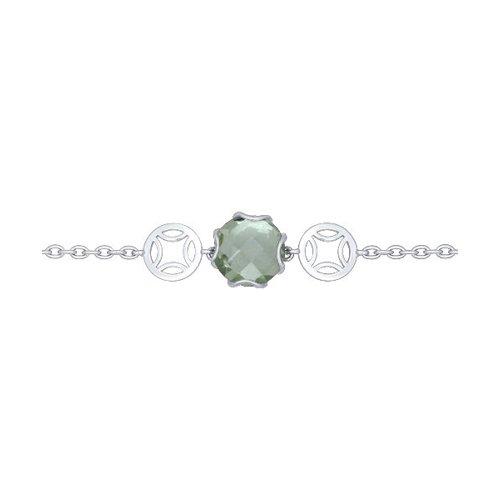 Браслет из серебра с зелёным аметистом
