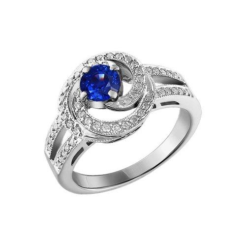 Кольцо из белого золота c бриллиантами и круглым сапфиром