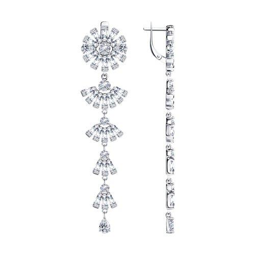 Серьги из серебра с фианитами (94023713) - фото
