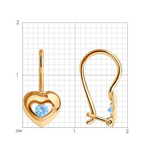 Серьги из золота с голубыми фианитами (027227) - фото №2