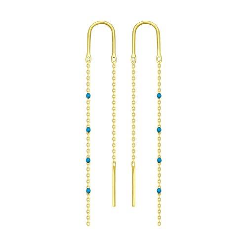 Серьги из желтого золота с эмалью (027790-2) - фото