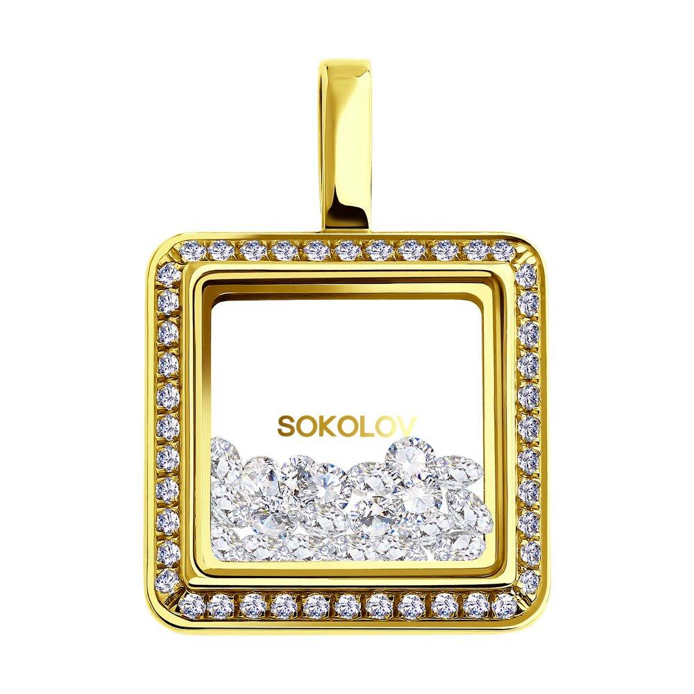 Подвеска SOKOLOV из желтого золота с минеральным стеклом и фианитами подвеска sokolov из желтого золота с минеральным стеклом и зелеными фианитами