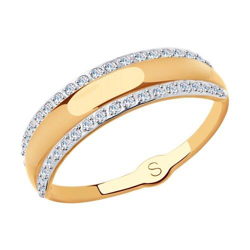 Кольцо из золота с фианитами (018012) - фото