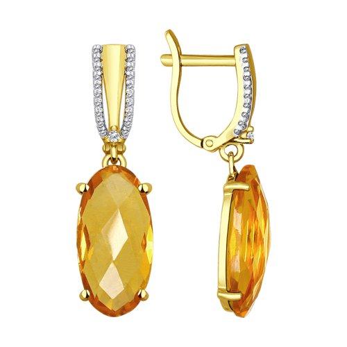 Серьги из желтого золота с цитринами и фианитами (51724101) - фото