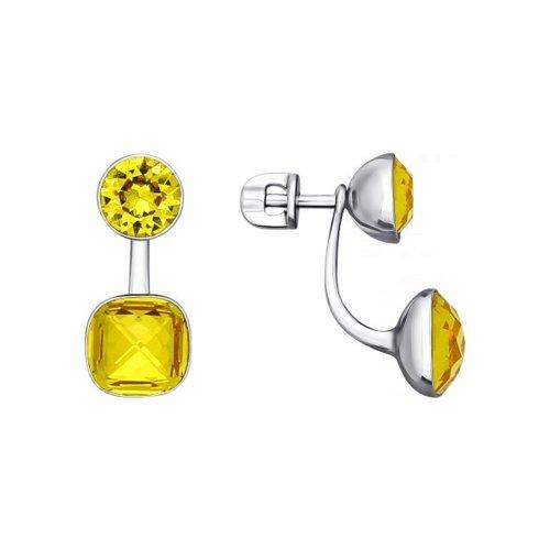 Двойные серьги с кристаллами Swarovski