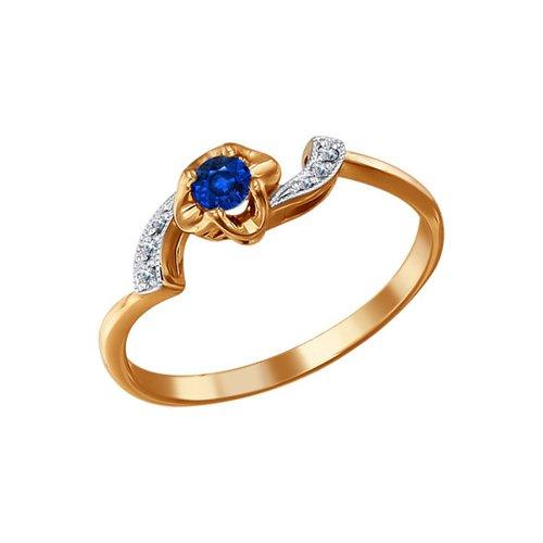 Кольцо из золота с сапфиром и шестью бриллиантами (2010646) - фото