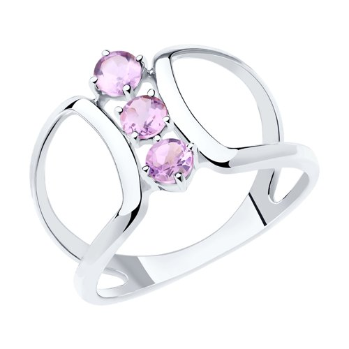 Кольцо из серебра с аметистами (92011923) - фото
