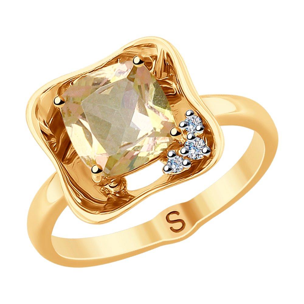 Кольцо SOKOLOV из золота с бриллиантами и морганитом фото