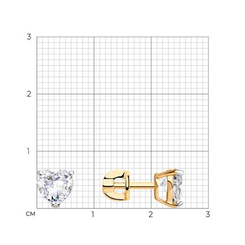 Серьги-пусеты из золота с фианитами (026866) - фото №2