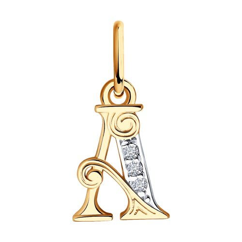 """Подвеска-буква """"А"""" из золота с фианитами 033811 sokolov фото"""