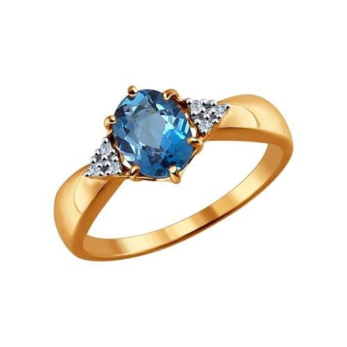 Кольцо из золота с бриллиантами и топазом (6014039) - фото