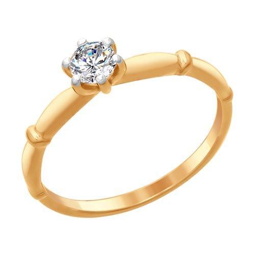 Кольцо из золочёного серебра со Swarovski Zirconia (89010094) - фото