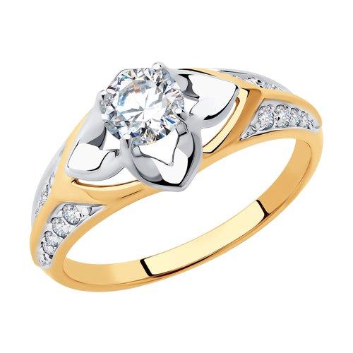 Кольцо из золота с фианитами (018333) - фото