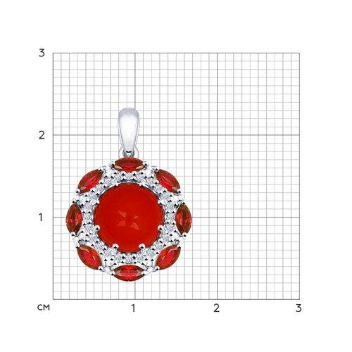 Подвеска из серебра с кораллом и красными фианитами (94031607) - фото №2
