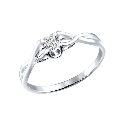 Кольцо из белого золота с бриллиантом (1010719) - фото