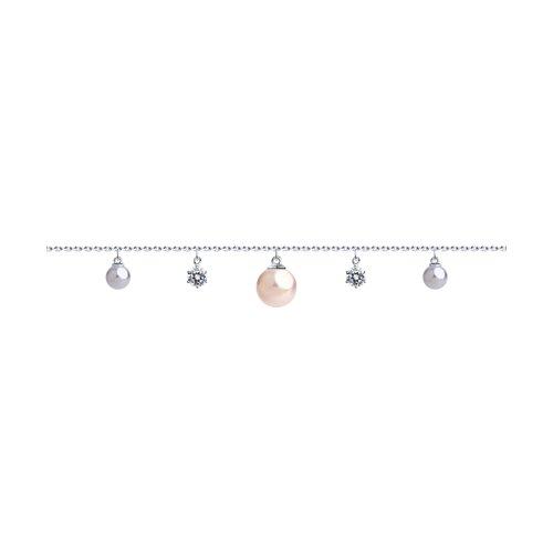 Браслет из серебра с жемчугом Swarovski и фианитами (94050539) - фото