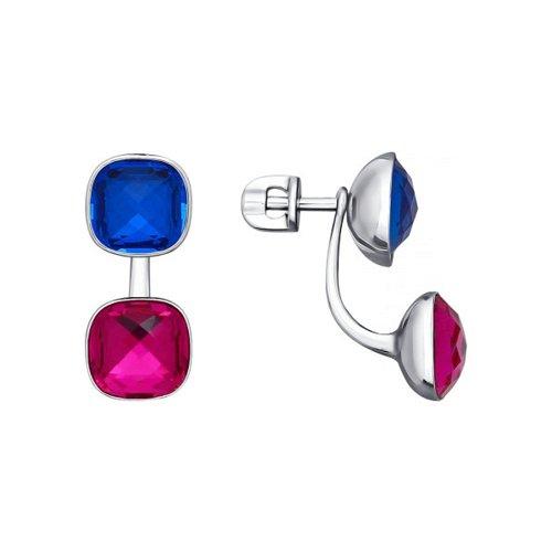 Серьги из серебра с синими и сиреневыми кристаллами swarovski