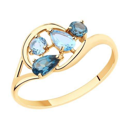Кольцо из золота с голубыми и синими топазами (715441) - фото