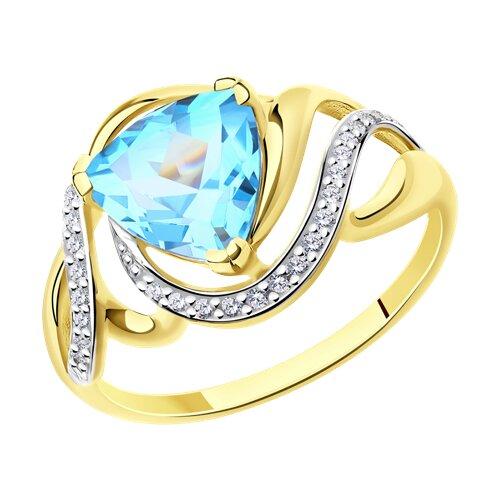 Кольцо из желтого золота с топазом и фианитами