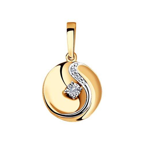 Подвеска из комбинированного золота с бриллиантами (1030721) - фото