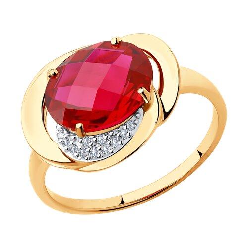 Кольцо из золота с корундом рубиновым (синт.) и фианитами