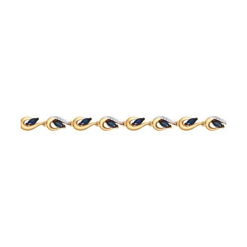 Браслет из золота с бриллиантами и сапфирами (2050040) - фото