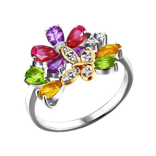 Комбинированное кольцо с полудрагоценными камнями SOKOLOV
