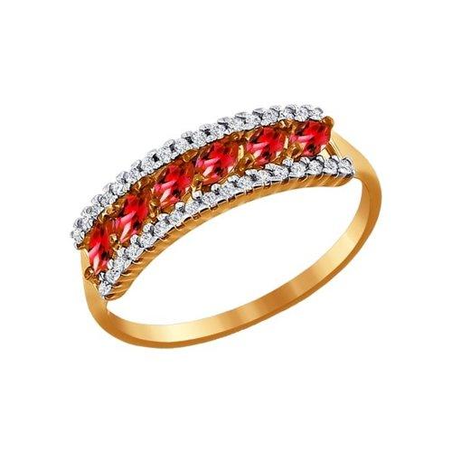 Золотое кольцо с красными фианитами SOKOLOV золотое кольцо ювелирное изделие 01k625042