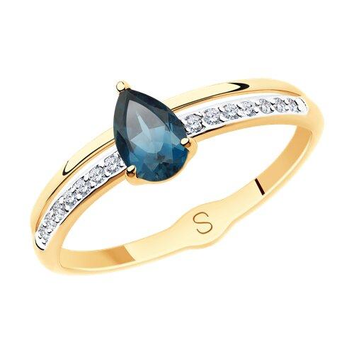 Кольцо из золота с синим топазом и фианитами (715584) - фото