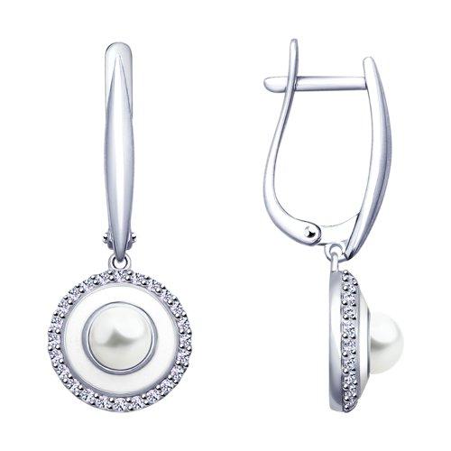 Серьги из серебра с эмалью и жемчугом и фианитами (94022930) - фото
