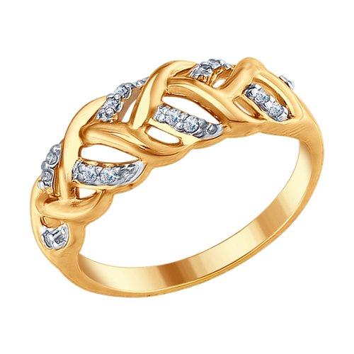 Кольцо из золочёного серебра с фианитами (93010677) - фото