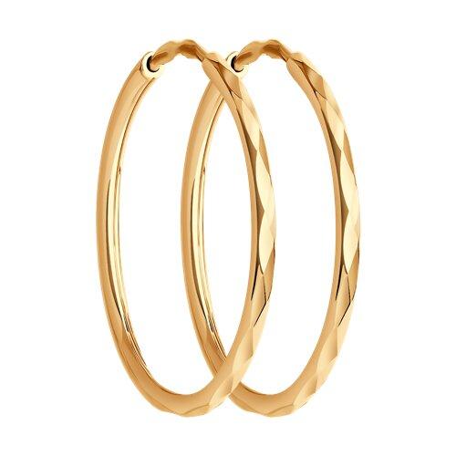 Серьги конго из золота с алмазной гранью