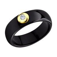 Чёрное керамическое кольцо с бриллиантом и золотом