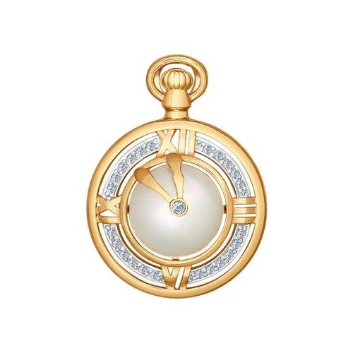 Подвеска «Часы» из золота с жемчугом и фианитами