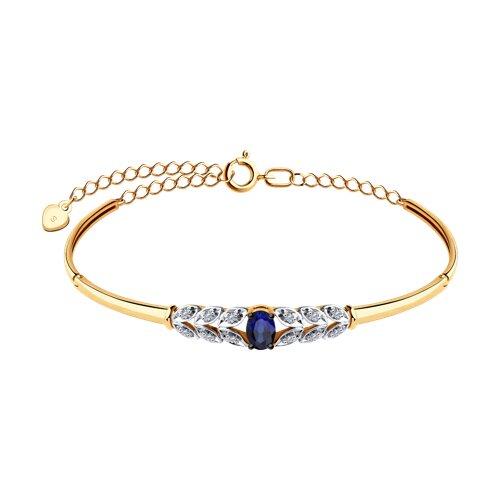 Браслет из золота с бриллиантами и синим корунд (синт.)
