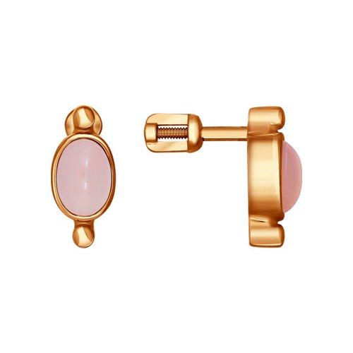 Серьги-пусеты SOKOLOV из золочёного серебра с розовыми агатами серьги пусеты из золота с агатами