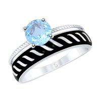 Кольцо из серебра с эмалью и топазом