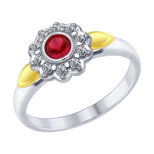 Кольцо из серебра с красным корундом (синт.) и фианитами