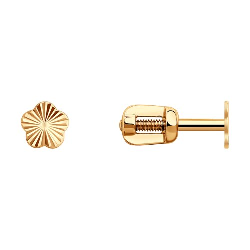 Классические серьги-пусеты из золота с алмазной гранью