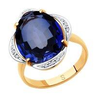 Кольцо из золота с бриллиантами и синим корунд (синт.)