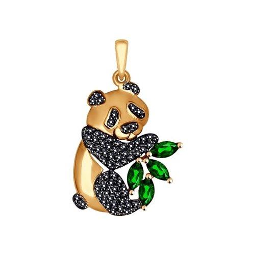 Подвеска из золота «Панда»  с чёрными и зелёными фианитами