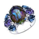 Кольцо из серебра с голубыми кристаллами Swarovski