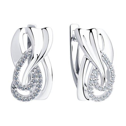 Серьги из серебра с фианитами (94023429) - фото №2
