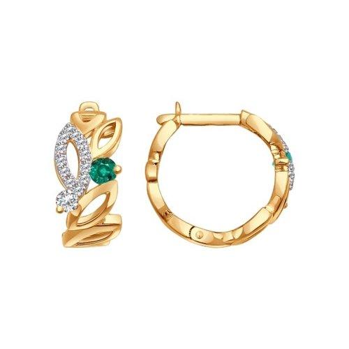 Серьги SOKOLOV из золота с бриллиантами и изумрудами серьги с изумрудами и бриллиантами из розового золота valtera 92581